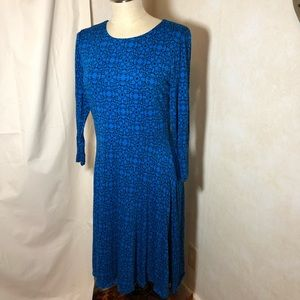 {Loft} long sleeve blue dress
